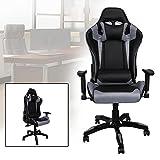 Hengda® Bürodrehstuhl Gaming Stuhl gepolsterte Armlehnen Racing Premium Komfort Stuhl Belastbarkeit 200 kg Höhenverstellbar schwarz/grau