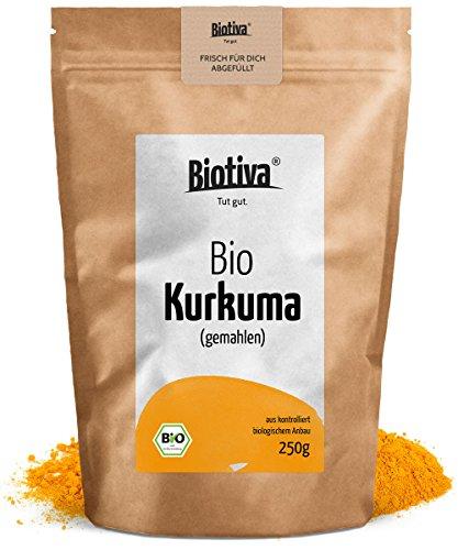 Bio-Kurkuma-Pulver (250g) I Besonders hochwertige Kurkumawurzel (Curcuma) gemahlen - Curcumin - Superfood - zum Würzen, Kochen und für Getränke - wiederverschließbarer Frischebeutel - 100% Bio und streng geprüfte Qualität - Abgepackt und kontrolliert in Deutschland (DE-ÖKO-005)