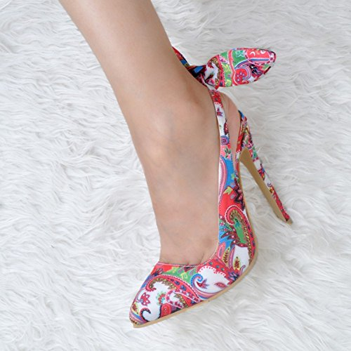 Kolnoo Femmes Fashion Handmade 10cm Slingback Knot Pompes à talons hauts de fleur Chaussures Flower Flower