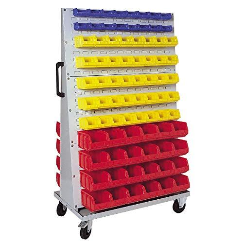 Jeu de bacs à bec - pour rayonnage mobile h x l x p 1700 x 1053 x 600 mm - 32 bleus (0,4 l) + 80 jaunes (1 l) + 48 rouges (4,5 l) - Bac Bac de stockage Bac à bec Bac à vis Bacs Bacs de stockage Bacs à bec Bacs à vis Conteneur de stockage à bec Conteneur à