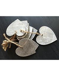 Conjunto de 10 corazones del amor que cuelgan de la boda que desean las decoraciones del árbol de etiquetas del regalo manualidades