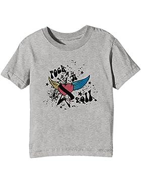 Rock N Roll Niños Unisexo Niño Niña Camiseta Cuello Redondo Gris Manga Corta Todos Los Tamaños Kids Unisex Boys...