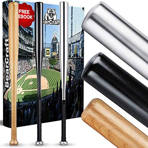 BearCraft Baseballschläger aus Holz oder Aluminium | Mit 79 cm Länge auch zur Selbstverteidigung ideal - Solide verarbeitet (Silber (Aluminium), 79)