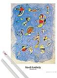 1art1 Poster + Hanger: Wassily Kandinsky Poster (91x61 cm) Himmelblau, 1940 Inklusive EIN Paar Posterleisten, Transparent