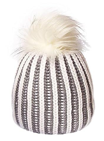 Bonnet Tabea Lux Mu Autrichien d'hiver chapeau de ski avec pompon en fourrure synthétique Gris/Blanc  