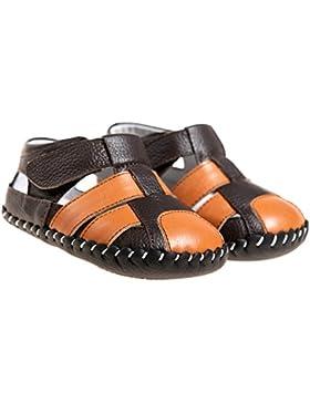 Boys Girls infant bebé de piel suave suela Sandalias Zapatos de bebé, color marrón y naranja