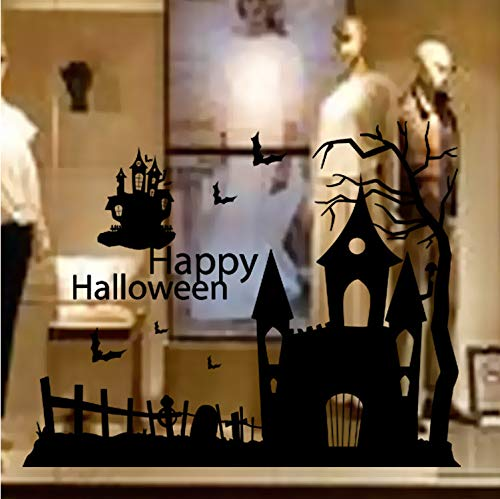 Zller2587 Wandaufkleber Kreative Happy Halloween Spukhaus Shop Schaufenster Glas Aufkleber Poster Home Interior Mural Art