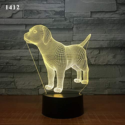 Halogen-downlight-kit (3D StimmungslichterHund Bulldogge Nachtlicht LED 3D Illusion Zimmer Deko Lampe Kind Kinder Baby Kit Hund Schreibtischlampe Nachttischlampe, P)