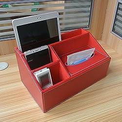 GRANDEY escritorio Creative Leather Caja de almacenamiento mando a distancia Teléfono móvil cosméticos soporte de suministros de oficina accesorios de escritorio colección organizador para piel de escritorio oficina en casa negocio papelería caja de almacenaje Caja de pañuelos