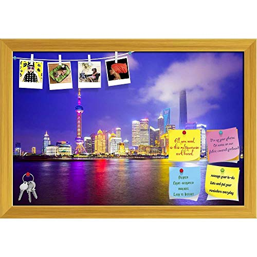 Artzfolio Shanghai City Skyline Of Pudong District, China D2 Printed Bulletin Board Notice Pin Board | Golden Frame 23.5 X 16Inch