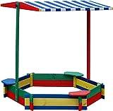 Sandkasten 6-Eck mit 3 Sitzen MIT DACH wetterfest - Sandkiste Sandbox Spielkasten Holzkiste Sandspielkasten