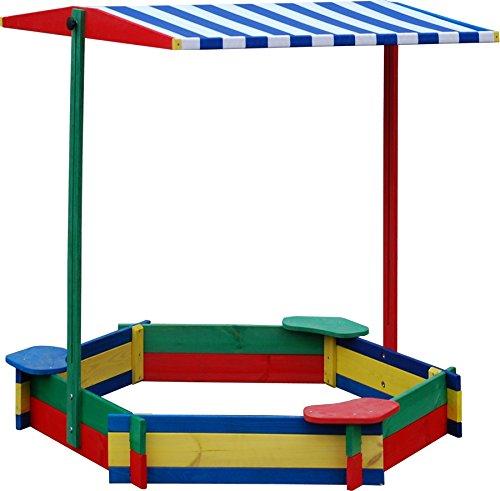 Preisvergleich Produktbild Sandkasten 6-Eck mit 3 Sitzen MIT DACH wetterfest - Sandkiste Sandbox Spielkasten Holzkiste Sandspielkasten
