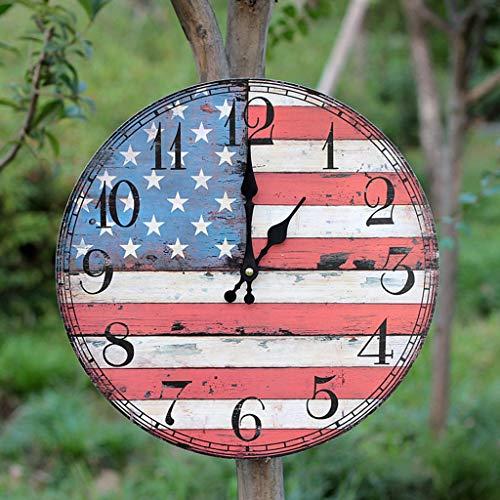 Startseite Runde Uhr aus Holz Britische Flagge Muster Uhr Cafe/Restaurant / Bar Dekorative Wanduhr