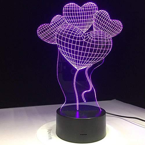 3D Illusion Lampe Liebesherz-Ballone LED Nachtlicht, USB-Stromversorgung 7 Farben Blinken Berührungsschalter Schlafzimmer Schreibtischlampe für Kinder Weihnachts geschenk - C6 Mit Blauem Led-licht