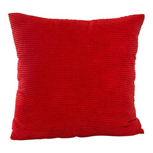 JOTOM Cord Kissenbezug Kissenhülle,Weiche Einfarbige Wohnkultur Kissen Thow Fall Dekorative Kissenbezug für Sofa Couch/Bank / Bett, 45x45 cm (Rot)