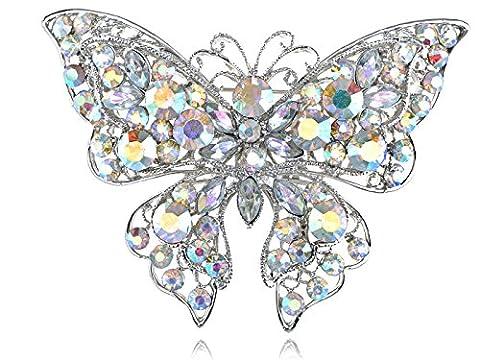 Aurora Borealis Crystal Rhinestone Flutter Butterfly Custom Fashion Broach