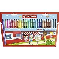 STABILO Power Wallet Felt Tip Pen - Assorted Colours, Pack of 30