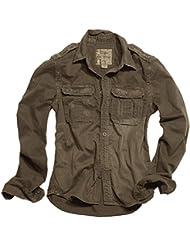 Surplus Raw Vintage manga larga camisa marrón tamaño L