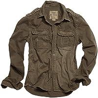 Surplus Raw Vintage manga larga camisa marrón tamaño M