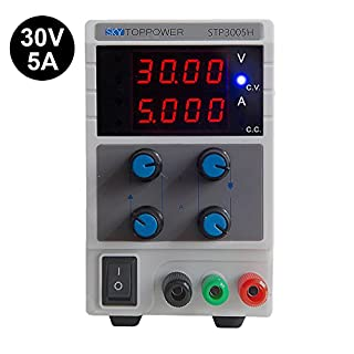 DC Power Supply Variable, SKYTOPPOWER 0-30V / 0-5A 4 Digital Precision Adjustable Switching Regulated DC Bench Power Supply UK Power Cord Used For Lab Equipment…