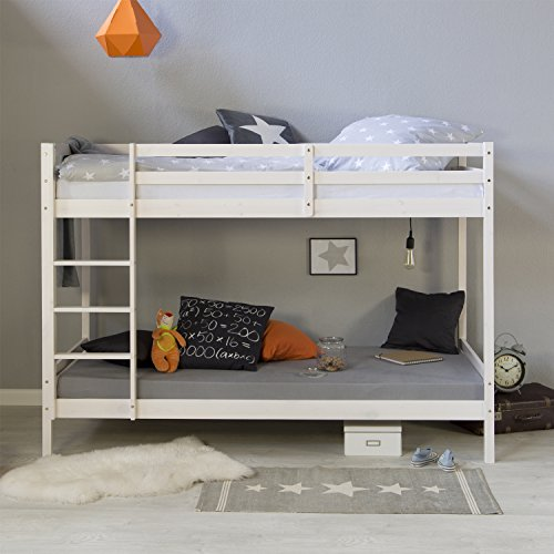 Homestyle4u 1431, Etagenbett für Kinder inkl. Lattenrost, Kinderbett 90x200 weiß, Holz - Doppel-kiefer Kopfteil