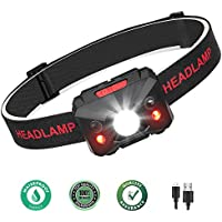 Coquimbo Head Torch USB Rechargeable LED Headlamp, Super Bright 5 Modes Led Torch Headlight for Running, Camping, Hiking, Fishing, Kids, USB Cable Included (Black)