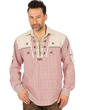 orbis Textil Trachtenhemd Karo Krempelarm Rot