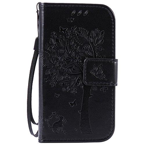 für Samsung Galaxy S3 Mini / i8190 (4,0 Zoll) Flip Schutzhülle Zubehör Lederhülle mit Silikon Back Cover PU Leder Handytasche im Bookstyle Stand Funktion Kartenfächer Magnet Etui Schale (Mini-weihnachtsschmuck)