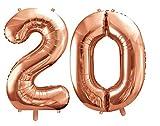 DaLoKu XXL Zahlen Riesen Luftballon 86cm Rosegold Folienluftballon Geburtstag, Größe: 20