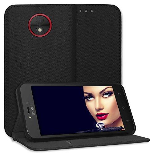 mtb more energy Schutz-Tasche Bookstyle für Motorola Moto C Plus (5.0'') | schwarz | Kunstleder | Klapp-Cover Hülle Case