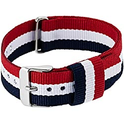 """RE:CRON women wristband watch nylon with stainless steel clasp 18 mm 0.71"""" wide compatible with Daniel Wellington watches - dark blue red white"""