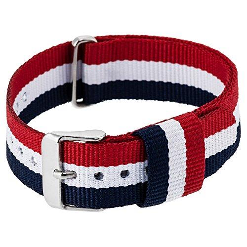 RE:CRON Bracelet pour montre femme en nylon avec une boucle en acier inoxydable 18 mm compatible avec les montres Daniel Wellington - bleu foncé blanc et rouge