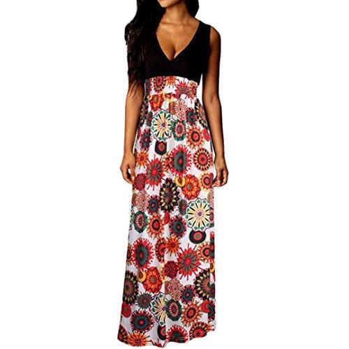 Bekleidung Longra❤️❤️ Kleider Damen, Frauen Ärmelloses Sommerkleid Strandkleider Blumenmuster lang Maxi Kleid mit Taschen (M, Multicolor - Sommer-spaghetti-bügel-kleid
