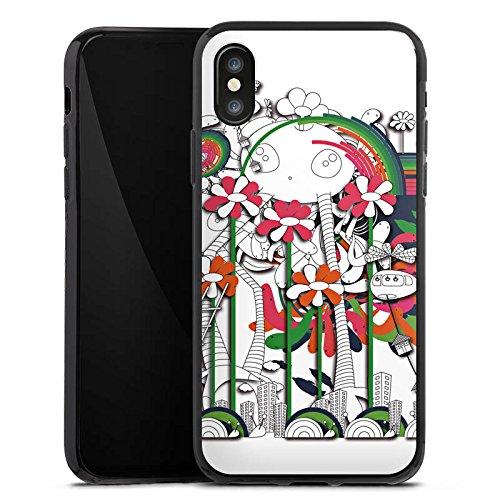 Apple iPhone X Silikon Hülle Case Schutzhülle Fantasie Blumen Traumwelt Silikon Case schwarz