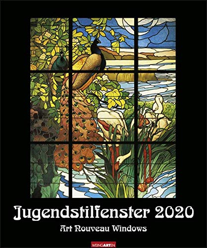 Jugendstilfenster. Wandkalender 2020. Monatskalendarium. Spiralbindung. Format 46 x 55 cm