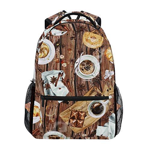 Ahomy Schulrucksack, Buch-Tasche für Teenager Mädchen Jungen, Aquarell, Kaffee, Kuchen, Brett, Reiserucksack, Wandertasche für Damen und Herren