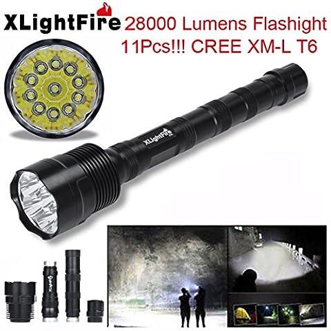 Taschenlampen, ulanda-eu xlightfire 28000Lumen 11x Cree XML T65Modus 18650super bright LED-Taschenlampe schwarz