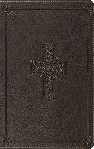 ESV Large Print Thinline Bible (Trutone, Charcoal, Celtic Cross Design)