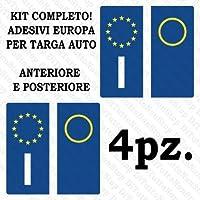 StickersLab - Adesivi per targa Europa per auto kit da 4 pezzi in vinile ultra resistente e omologati
