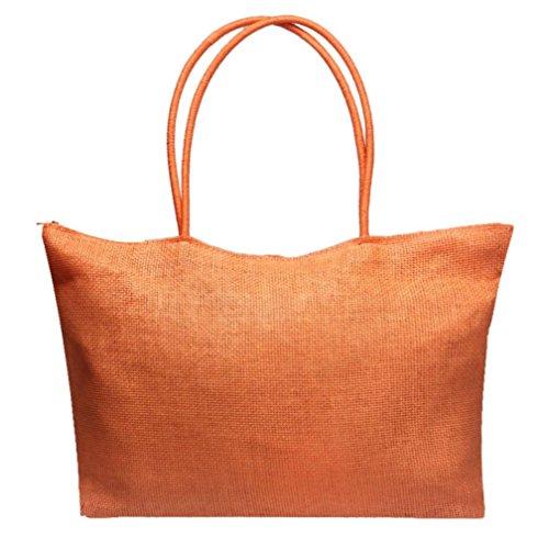 HLHN Taschen Damen groß Süßigkeit Farben Stroh Handtasche Schultertasche Strand Umhängetasche für Dame (Orange) -