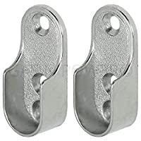 Oval Wardrobe Rail END Supports Rail Brackets 2 Hole 15mm Wide Nickel Plated Silver x2