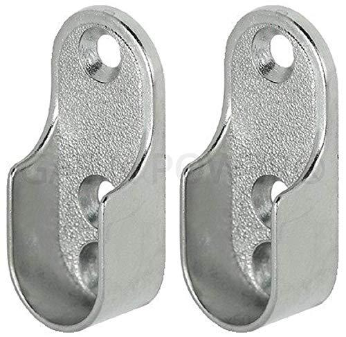 Ovale armadio fine supporta staffe 2fori 15mm largo in nichel placcato argento x2