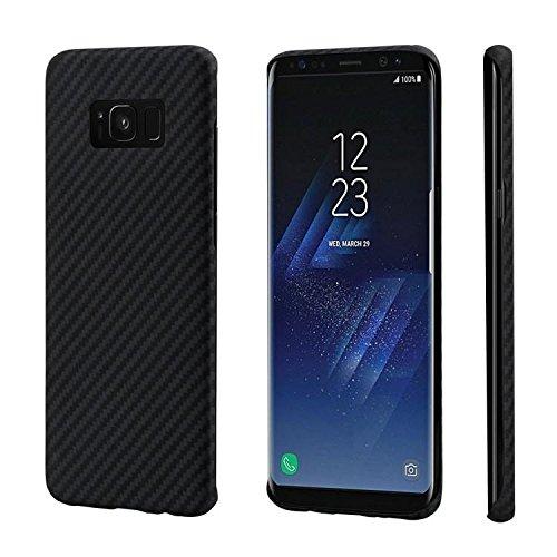 pitaka Minimalistische Hülle Kompatibel mit Samsung Galaxy S8, Aramid-Faser [kugelsicheres Material], super schmale widerstandsfähige Schutzhülle, kratzresistente Handyhülle - Schwarz/Grau (Twill) -
