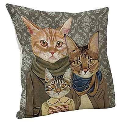 45cm*45cm Pillow Case , Janly® Mr. Cat / Miss Cat Cushion Cover Cute Sofa Bed Home Decoration Square Cotton Linen Pillowcases