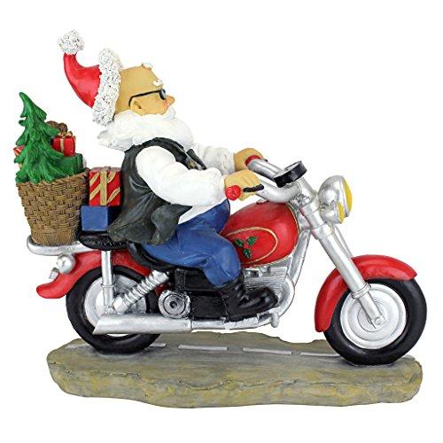 Design-Toscano-Garden-Gnome-Statue-Old-School-Father-Christmas-Biker-Gnome-Santa-Gnome-Wild-Gnome-Statues-Gnome-on-Motorcycle-Statue