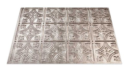 Fasade Easy Installation Traditional 1 Crosshatch Silver Backsplash Panel for Kitchen and Bathrooms (18 x 24 Panel) by Fasade (Fasade Panels Backsplash)