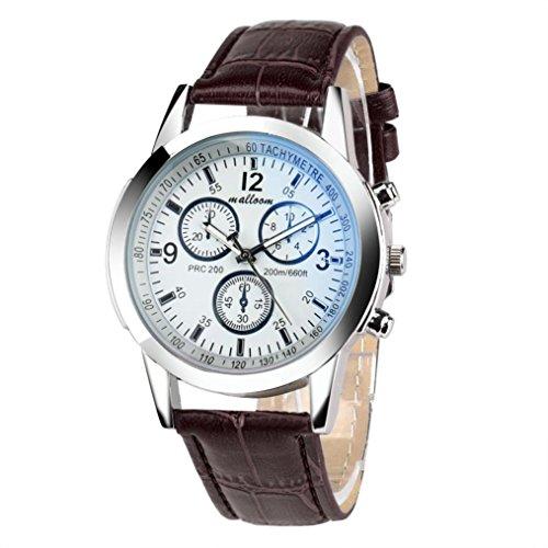 Zolimx Luxusmode Kunstleder Herren Glas Quarz analoge Uhren (Braun2)