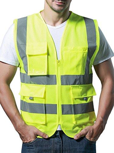 Unisex Mehrfunktional Hohe Sichtbarkeit Netz Warnwesten Multi-Tasche Reflektierende Westen Atmungsaktiv - Fluoreszenz Grün Größe M Vis-cam