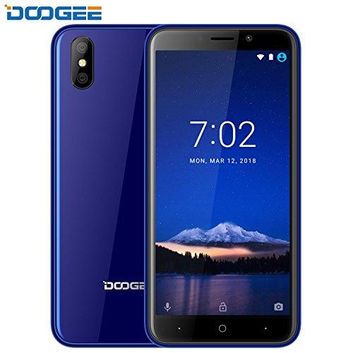Günstige Handys unter 100 Euro, DOOGEE X50 Dual SIM 3G Smartphone ohne Vertrag, Android 8.1 Handys - 5 Zoll HD Seitenverhältnis Display - MT6580 - 1GB RAM + 8GB ROM - 5MP Rückseitenkameras, Senioren Handys ohne Vertrag, Blau
