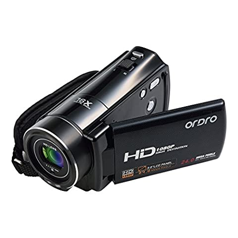 ORDRO HD 1080p Video Camcorder 3 inch LCD Screen with Pause Recording Black (HDV-V7)